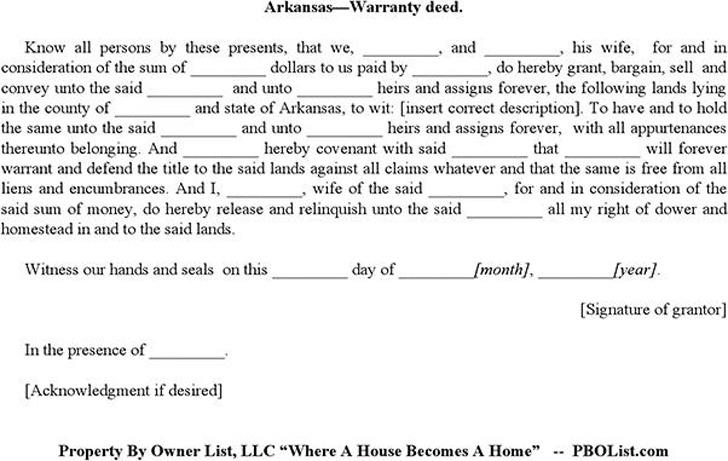 Arkansas Warranty Deed Form