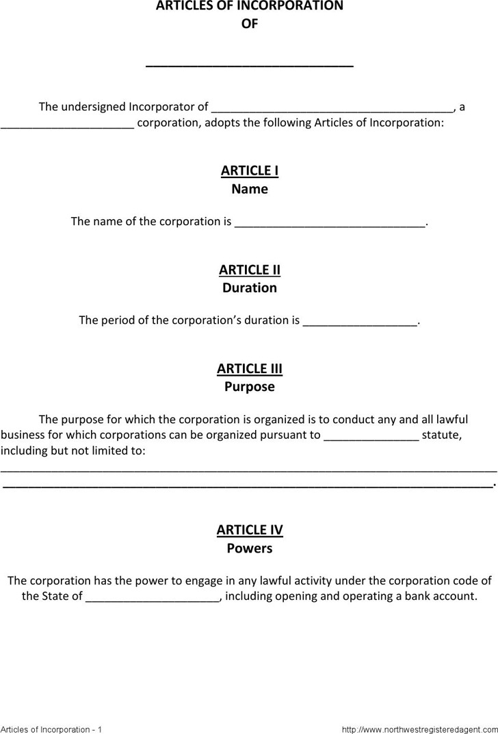 Articles Of Incorporation Template  Download Free  Premium