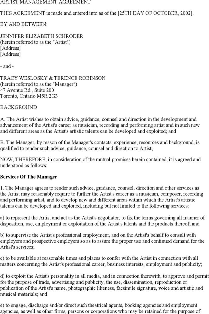 Artist Management Contract Templates – Artist Management Contract Template
