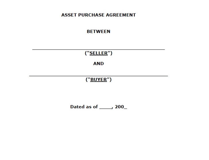 Asset Purchase Agreement – Asset Purchase Agreements