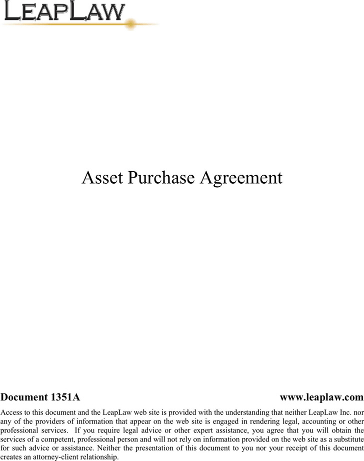 Asset Purchase Agreement  Download Free  Premium Templates