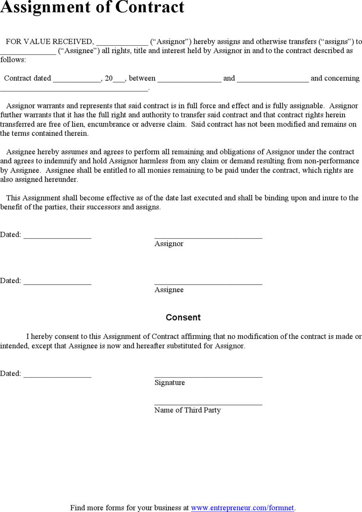 Assignment Agreement Template Download Free Amp Premium