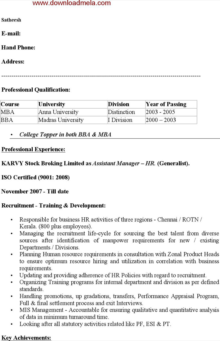 hr resume template download free premium templates forms download hr resume template