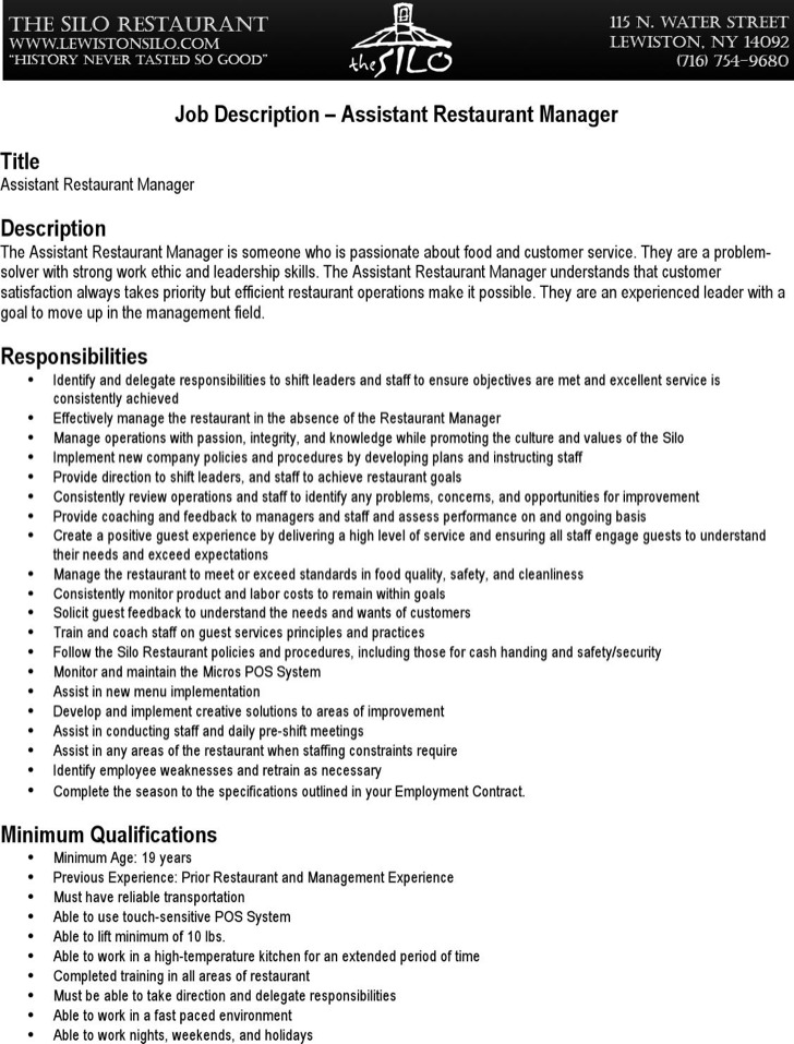 6+ Restaurant Manager Resume Templates Free Download