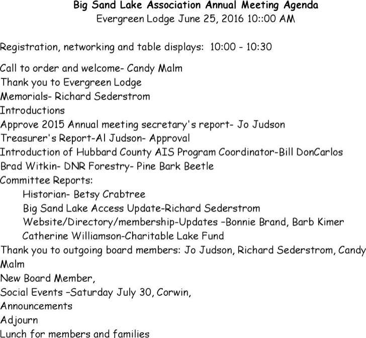 Association Annual Meeting Agenda Template