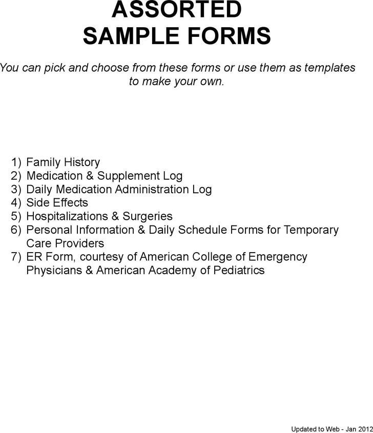 Assorted Sample Forms