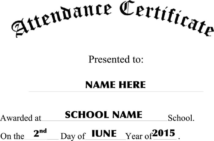 Attendance Certificate Template – Certificate of Attendance Template Free Download