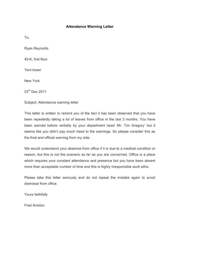 Attendance Warning Letter Template