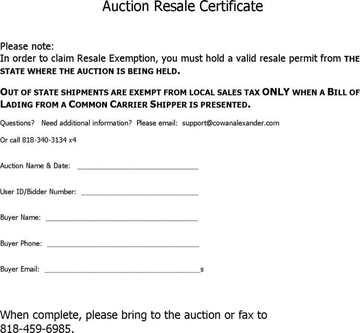 auction certificate templates