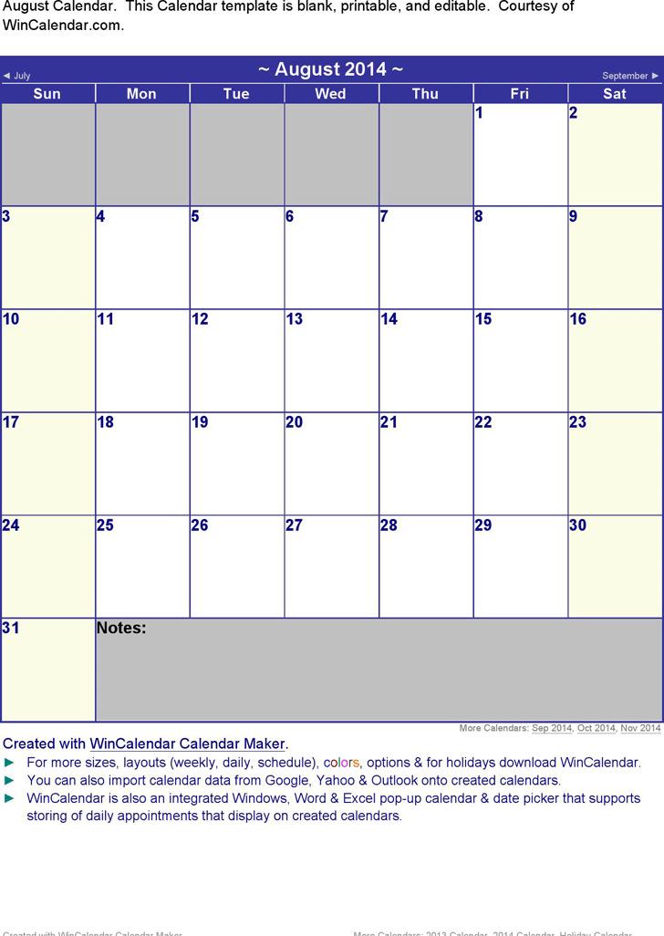 August 2014 Calendar 1