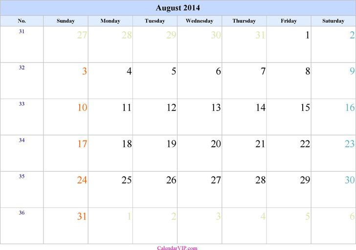 August 2014 Calendar 2