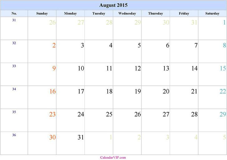 August 2015 Calendar 3