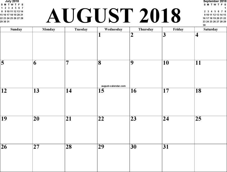 August 2018 Calendar 3