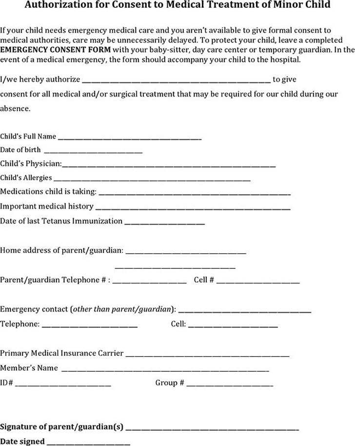 Child Medical Consent Form  Download Free  Premium Templates