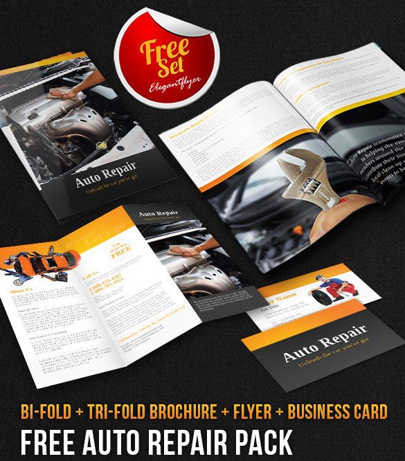 Auto Repair Brochure Pack - Free PSD Template Download