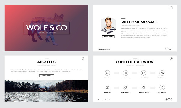 Awesome Creative Wolf Minimal PowerPoint Template Download