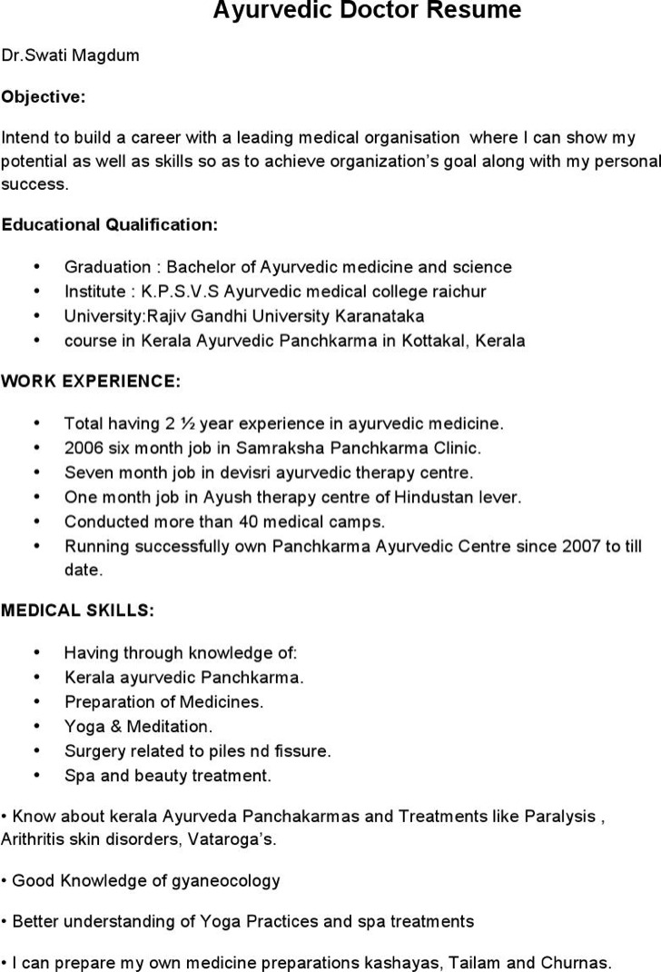 ayurvedic doctor resume template doctor resume format