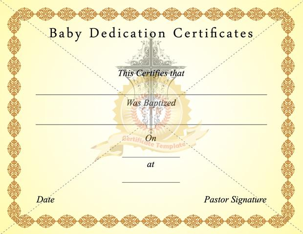 Baby Dedication Certificate Template Download Free