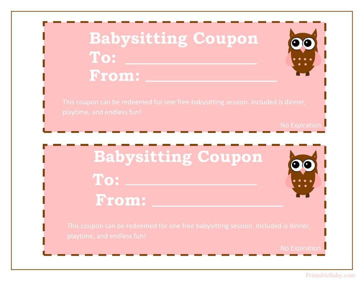 Baby Sitting Coupon PDF Format Free Download