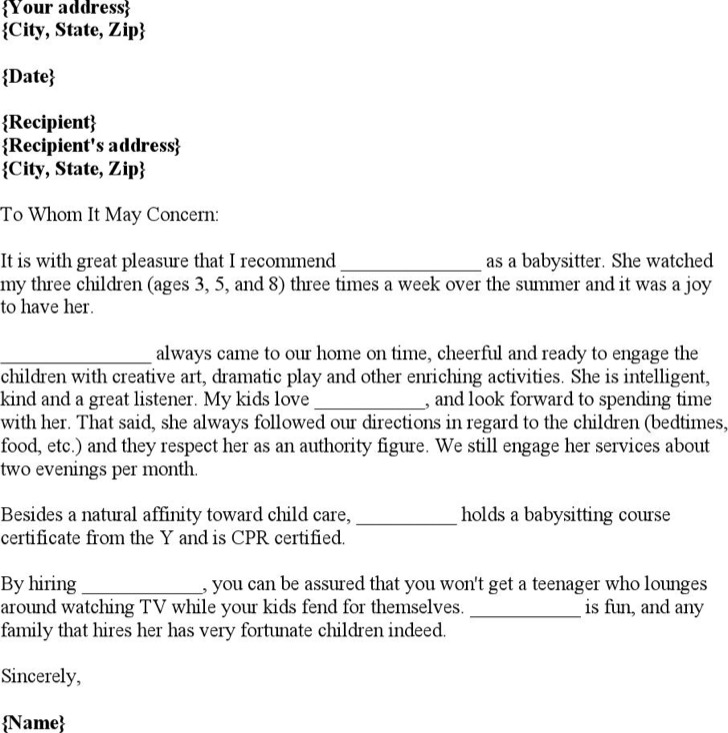 Sample Babysitter Reference Letter Templates | Download Free ...