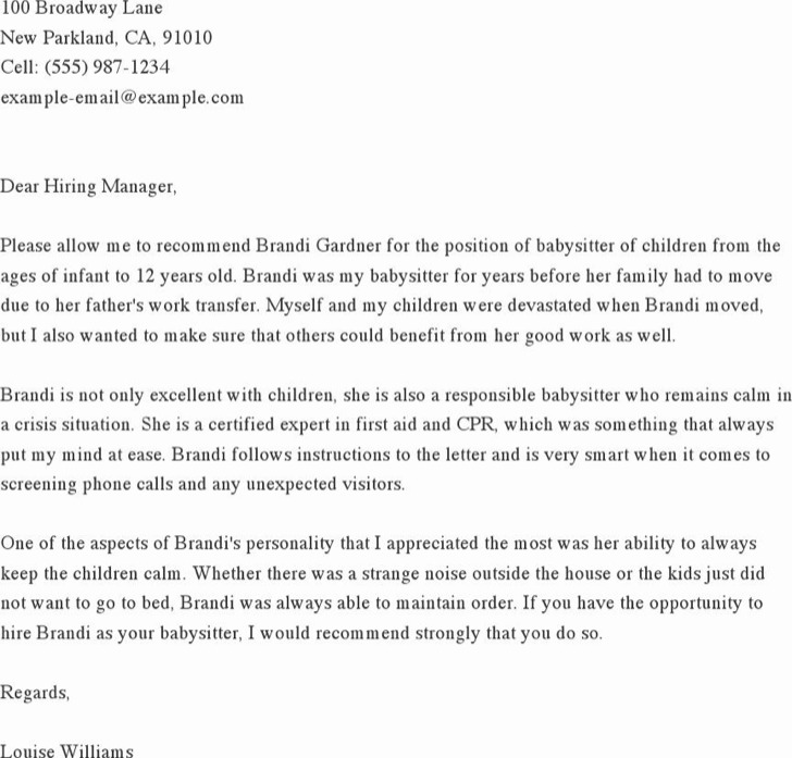 Reference Letter For A Babysitter Sample Personal Reference Letter