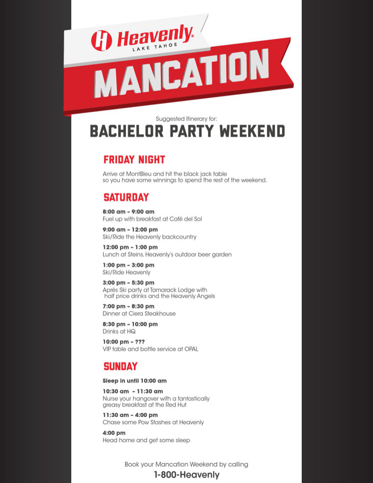 Bachelorette Weekend Itinerary Template