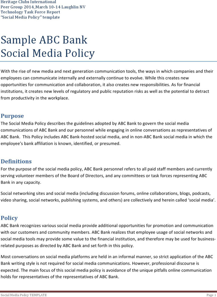 Social Media Policy Templates | Download Free & Premium Templates