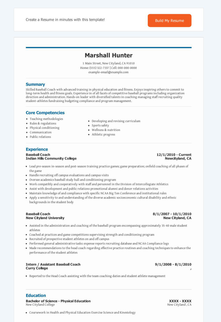 Baseball Coach Resume1