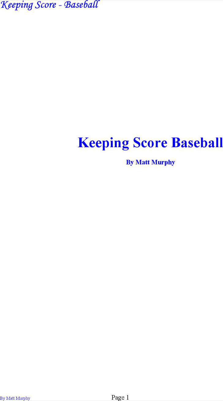 Baseball Keeping Scorecard