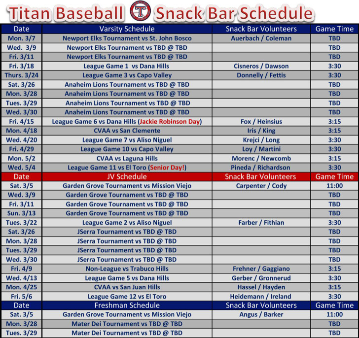 Snack schedule templates download free premium for Baseball schedule template free