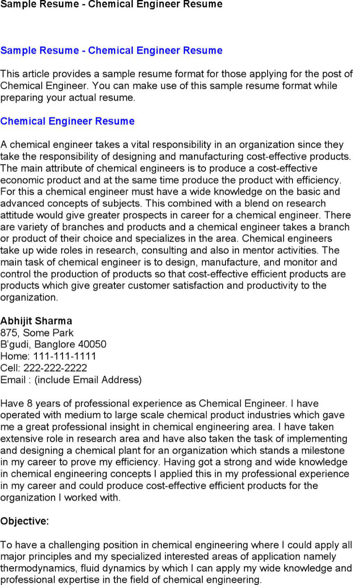 6+ Chemical Engineer Resume Templates Free Download