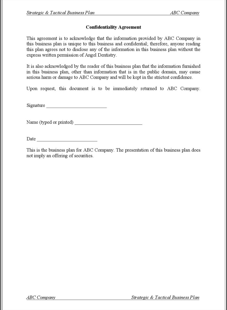 Basic Confidentiality Agreement Templates  Download Free