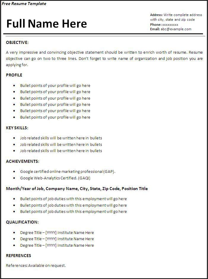 Employment Resume Template | Resume Format Download Pdf