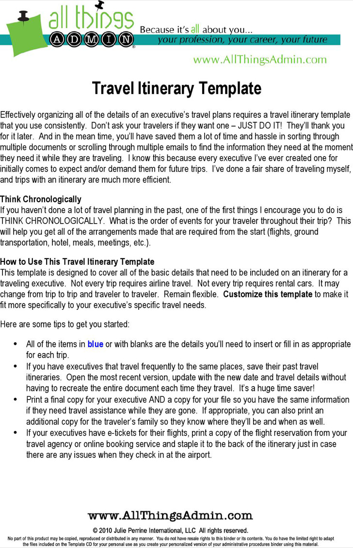 Delighted Itinerary Template Travel Contemporary - Entry Level ...