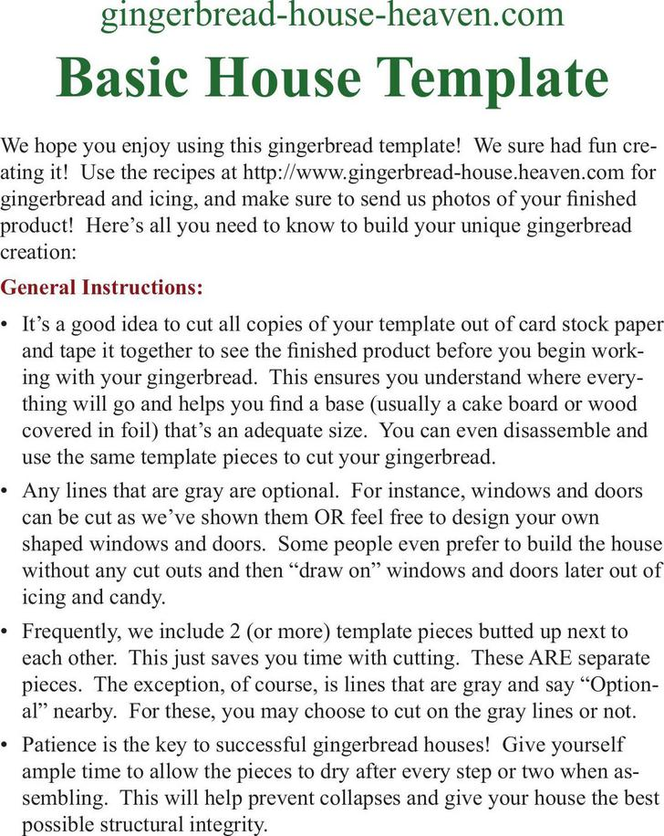Basic Gingerbread House Template