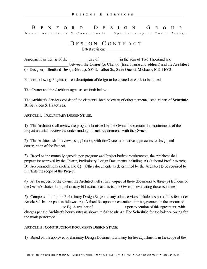 Basic Interior Designer Contract Template PDF Download