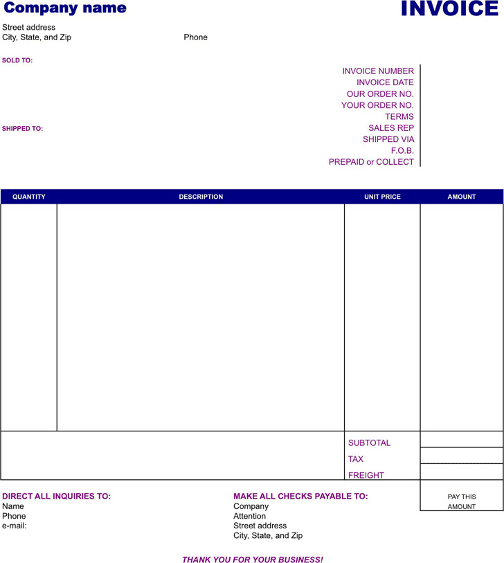 Basic Invoice Template | Download Free & Premium Templates, Forms ...