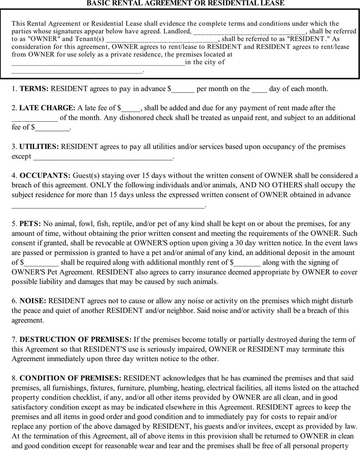 Basic Rental Agreement  Download Free  Premium Templates Forms