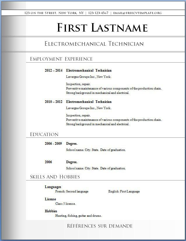 basic resume template free download - Simple Resume Templates Free