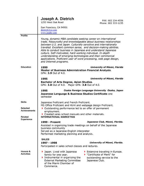 Resume Samples Word  Sample Resume And Free Resume Templates
