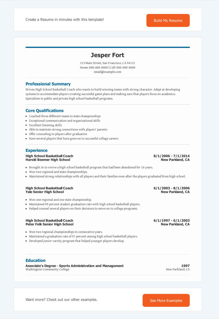 Basketball Coach Resume1