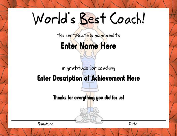 Basketball Fame Coach Certificate Template