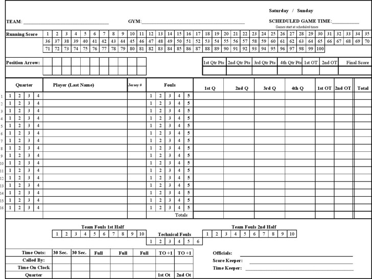 Printable Basketball Score Paper,Basketball.Printable Coloring
