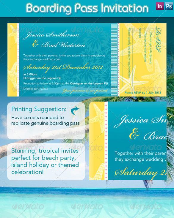 Beach Style Boarding Pass Invitation Design - $4