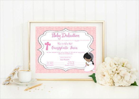 Baby Dedication Certificate Template - Apigram.Com
