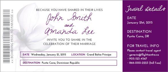 Beautiful Wedding Boarding Pass Invitation Template