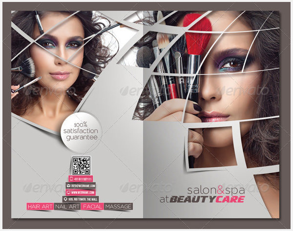Beauty Care & Saloon Bi-fold Brochure Template