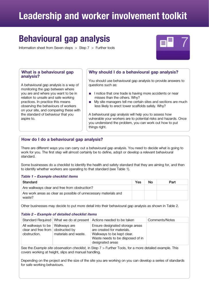 Behavioral gap analysis PDF Template
