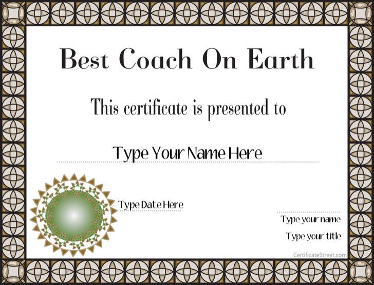 Best Coach Certificate Template
