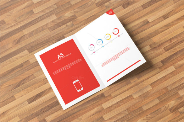 Bi-Fold Brochure Mock-Up Template PSD Design Download